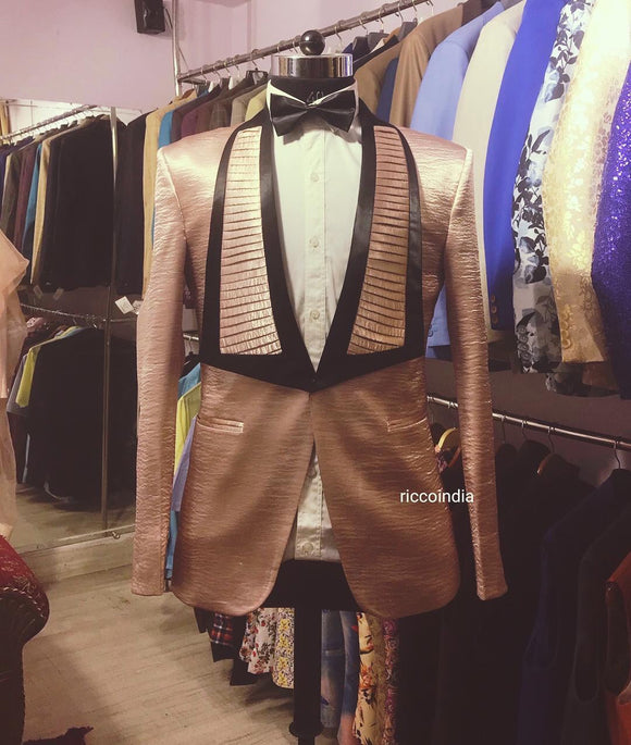 Rose gold tuxedo with pleated lapel