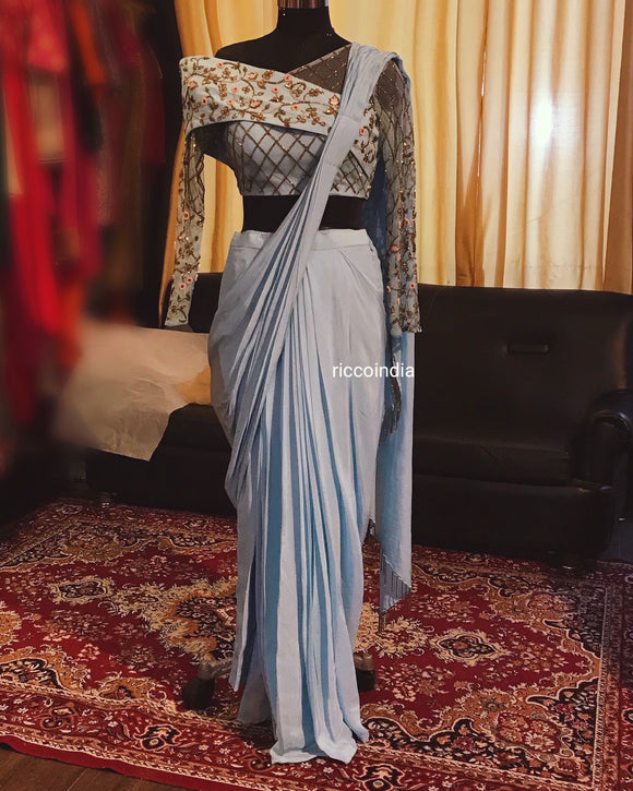 Blue stitched saree with wrap top