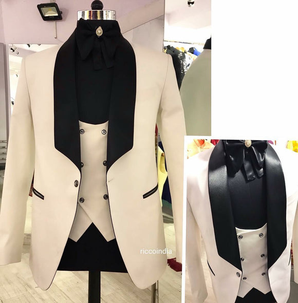 White tuxedo with black lapel comes with Swarovski crystal buttons
