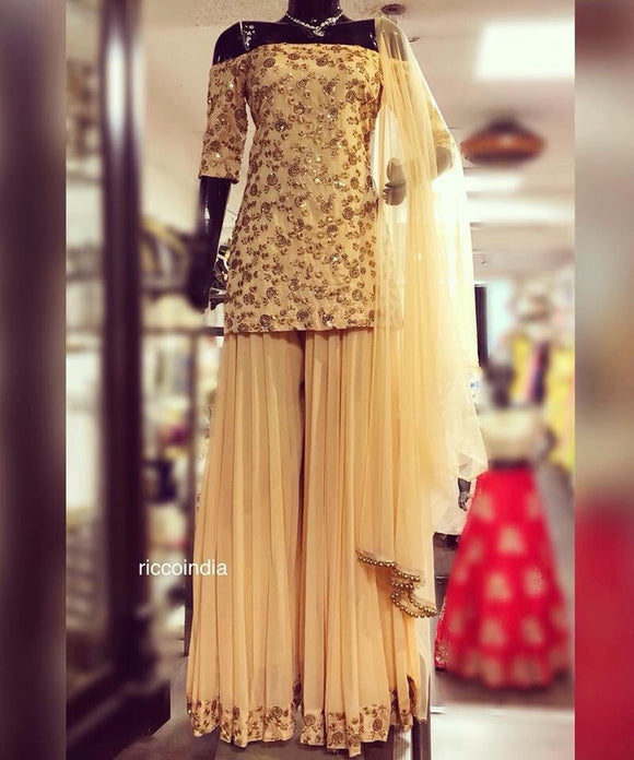 Sequin work beige off shoulder kurta with sharara pants
