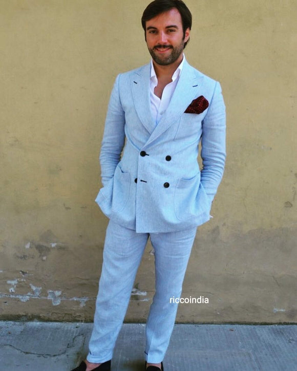 Ocean blue linen double breasted suit