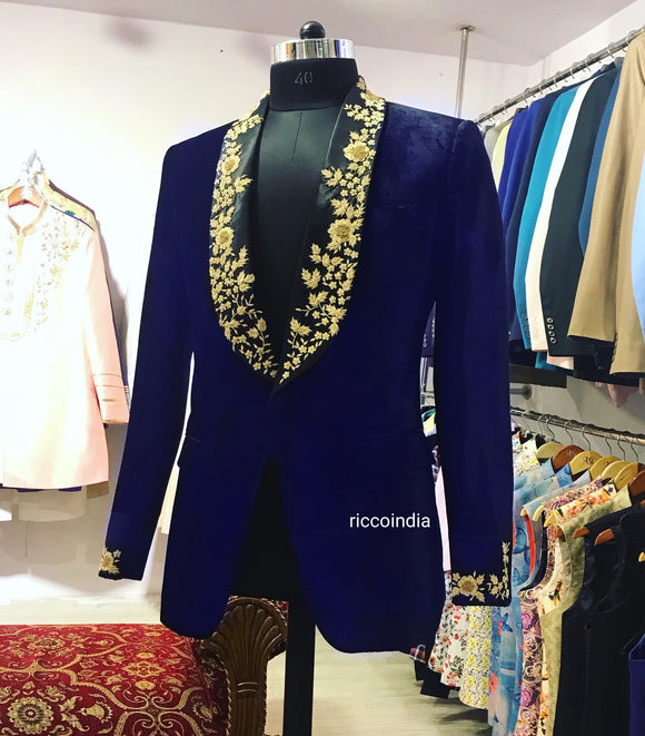 Blue velvet tuxedo with black embroidered lapel
