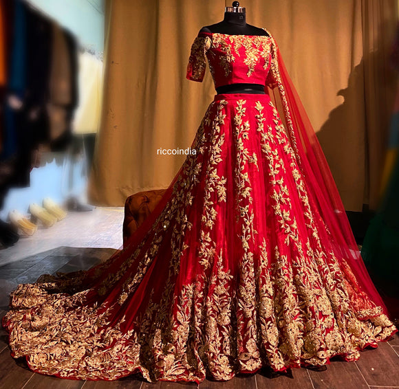 Train Bridal lehenga with dori work and cut work dupatta