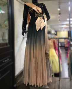 Off shoulder draped cocktail ombré gown