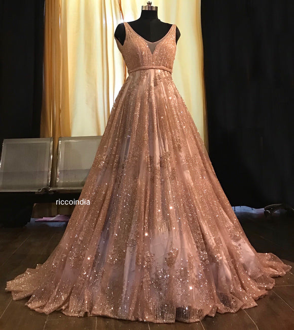 Rose gold train gown