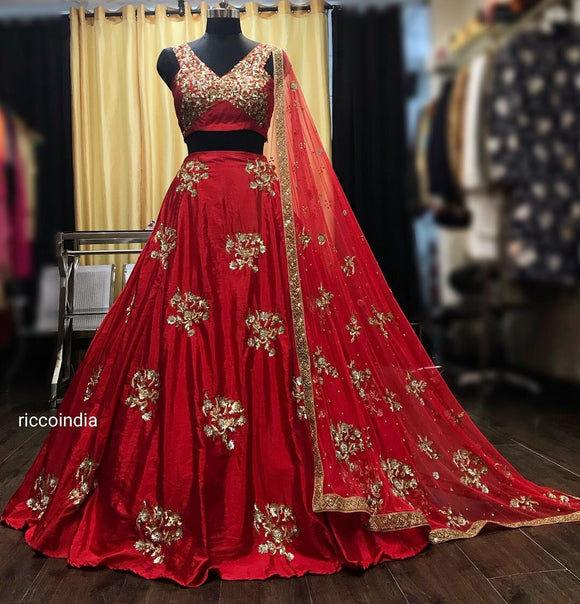 Intricate crystal embroidery flared red Lehenga with embroidered dupatta