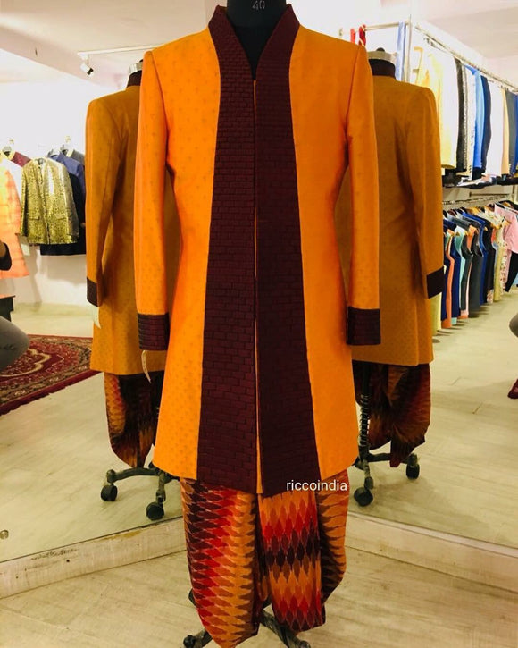 Orange indowestern sherwani with Dhoti pants