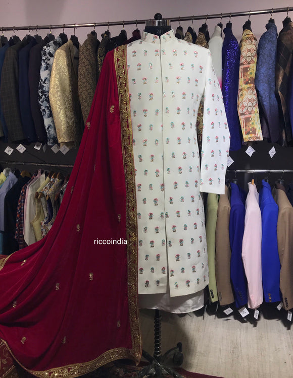 Ivory sherwani with small bootis