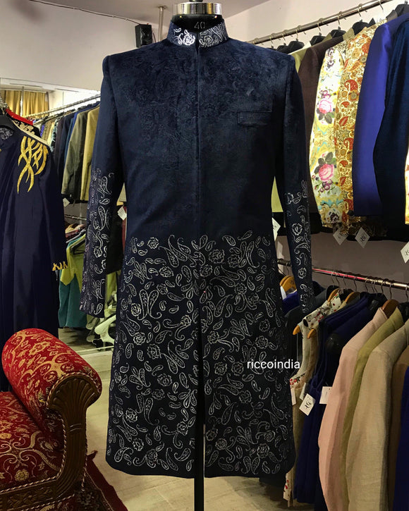 Navy blue textured suede sherwani with silver embroidery
