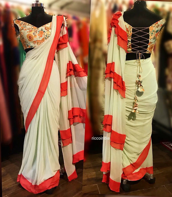 Frill sareegown with zari and Resham work blouse