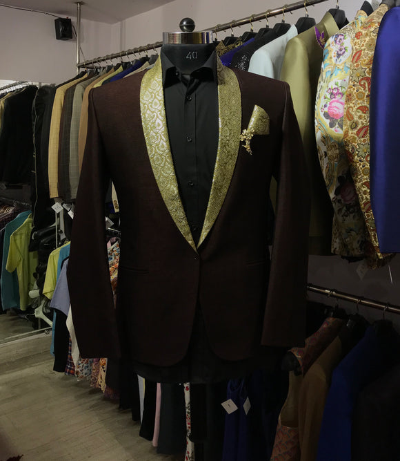 Brown silk brocade lapel tuxedo