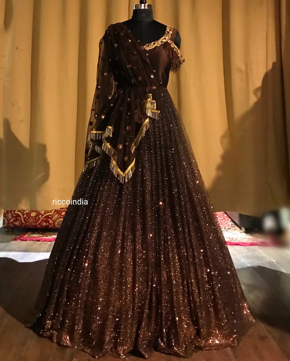 Brown draped gown