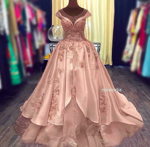 Rose gold structured cocktail gown