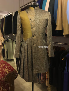 Indowestern pleated drape sherwani