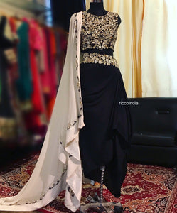 Black Dhoti skirt and croptop