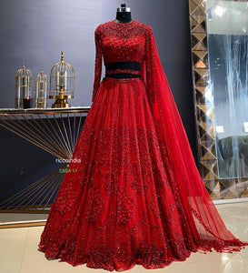 Red corset blouse lehenga with red beadwork