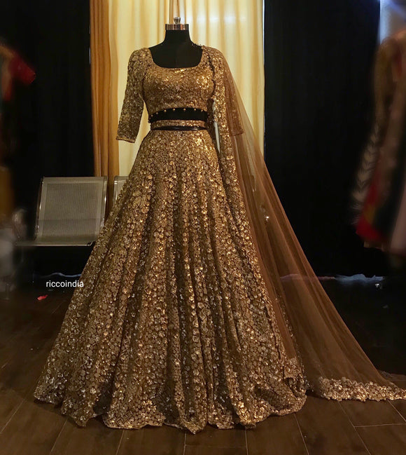 Copper gold Lehenga with zari and sequin work and cut work dupatta