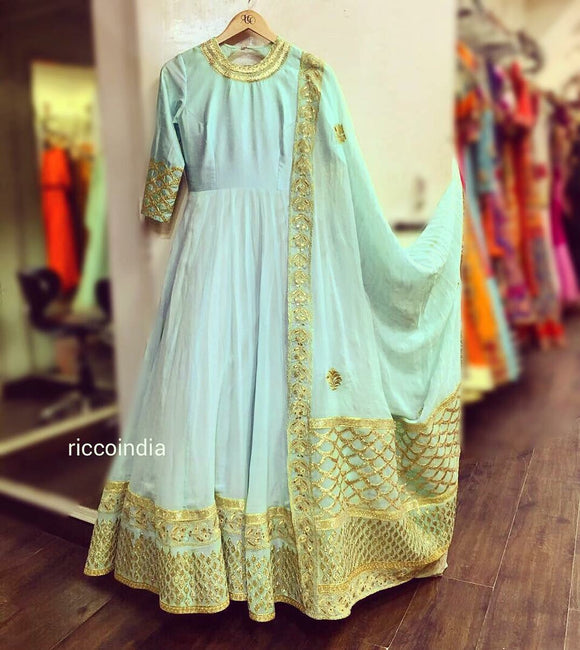 Mint Anarkali with gota and zari work heavy dupatta