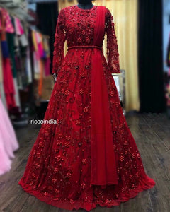 Red beadwork cocktail gown