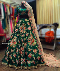 Green Resham and sequin work Lehenga with peach cut work dupatta