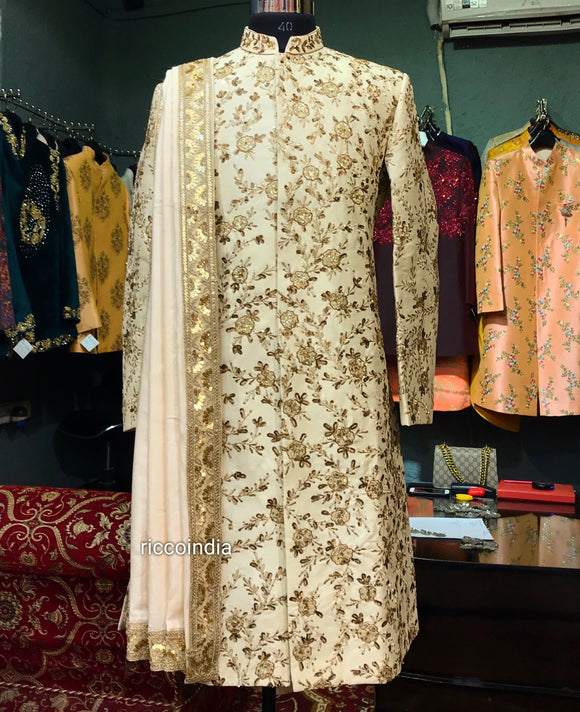 Heavily embroidered sequins work sherwani