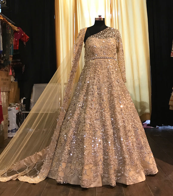 Couture Indian Gown with Pakistani embroidery