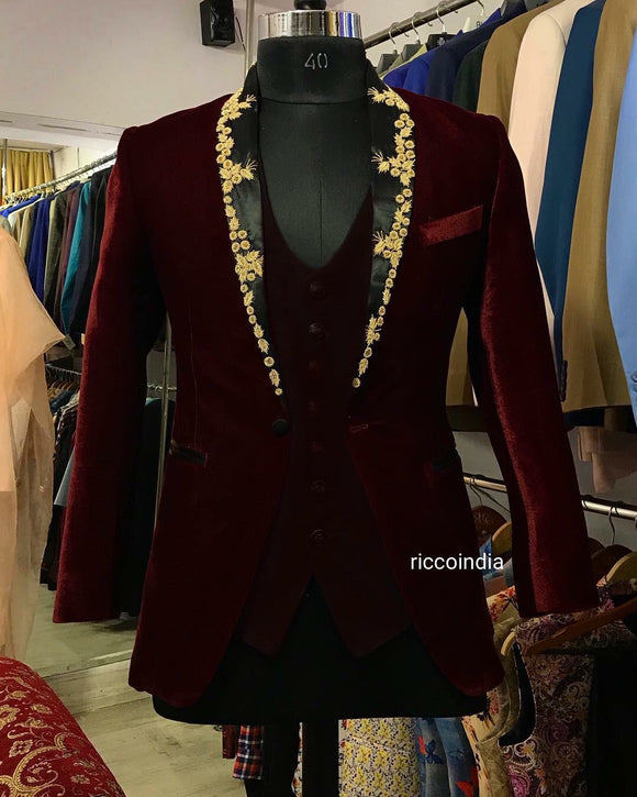 Embroidered lapel burgundy velvet tuxedo