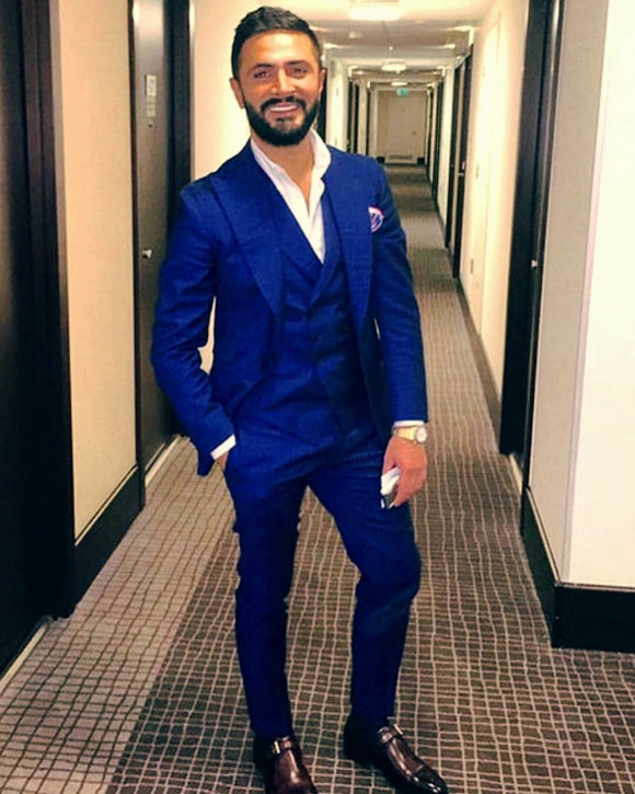 Royal blue three piece tuxedo