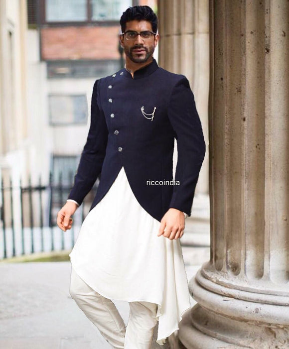 Indowestern bandgala blazer with draped kurta