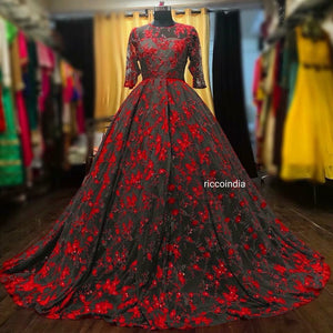 Grey and red Resham work ball gown with Swarovski embellishments