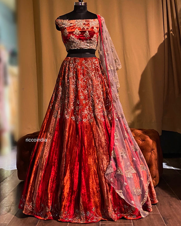 Rust velvet lehenga with beadwork