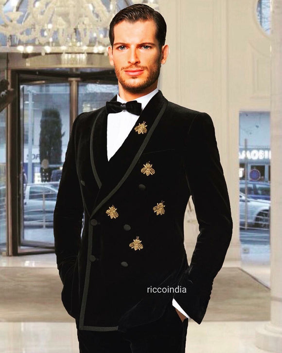 Black velvet embroidered tuxedo