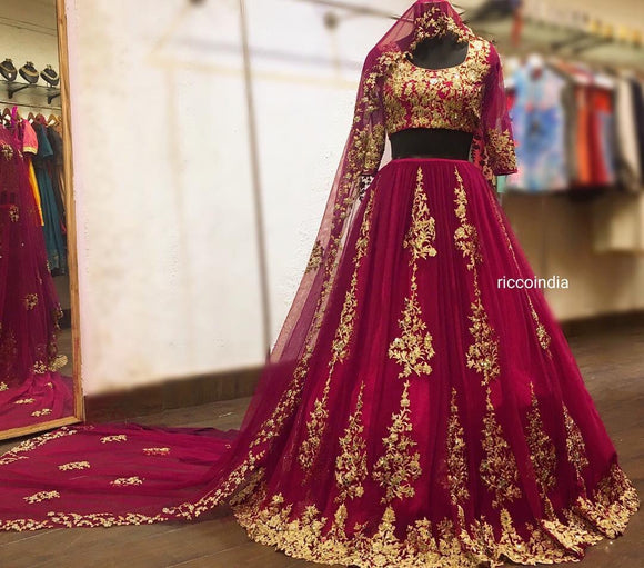 Pink bridal Lehenga with train dupatta veil