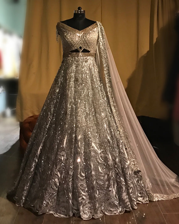 Silver sparkle gown with tassels