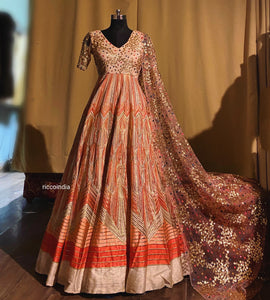 Gota work Aztec embroidery Anarkali gown