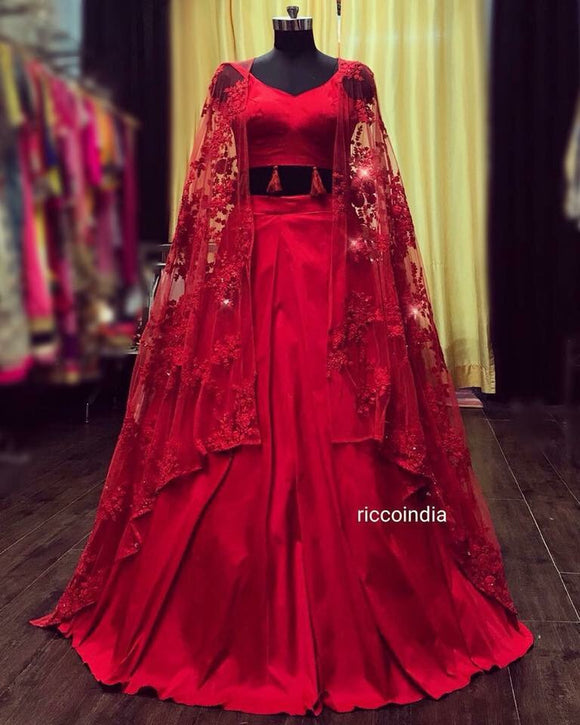 Red jacket lehenga