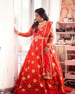 Red Anarkali train gown with grill detail border