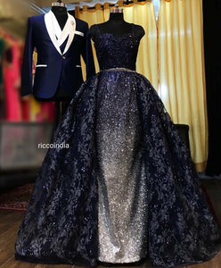 Blue ball gown and blue tuxedo Bride and Groom Co-ord set