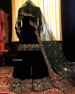 Dark green velvet sharara with intricate hand work