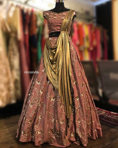 Draped dupatta Lehenga with intricate sequin work in chocolate brown