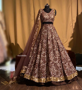 Copper layered lehenga