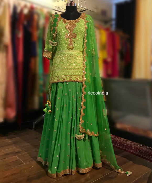 Mint chikkan sharara with curved dupatta