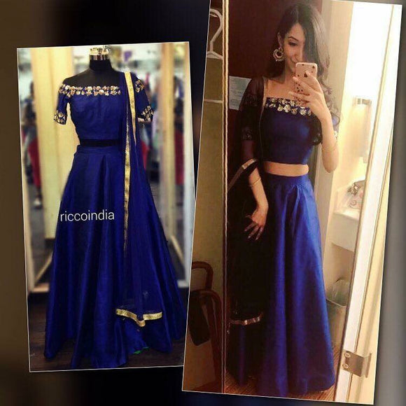 Blue off shoulder sequin work Lehenga