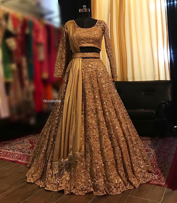 Copper gold belt lehenga