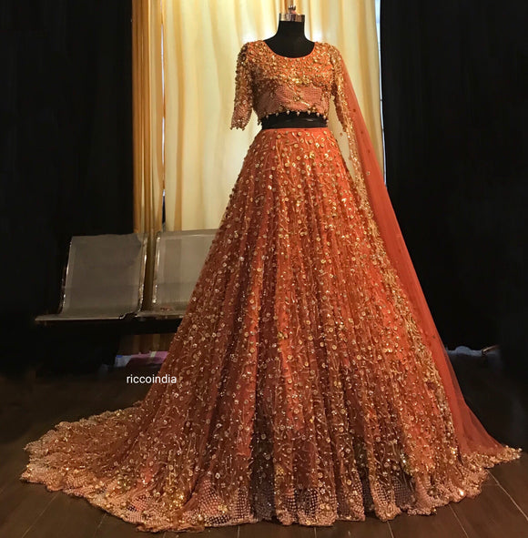 Jaal embroidery bridal Lehenga with train