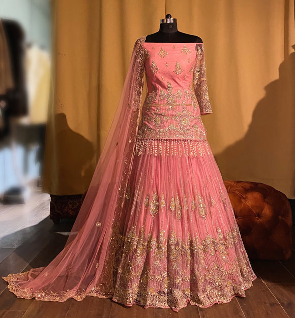 Pink achkan lehenga with off shoulder kurta with pearl tassels