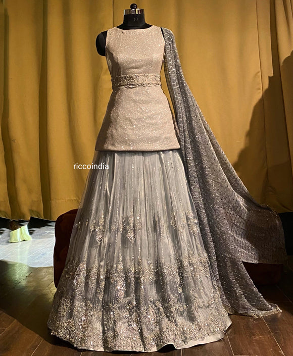 Silver achkan lehenga with beaded skirt