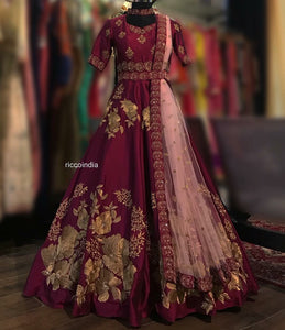 Wine belt Anarkali gown with pink dupatta