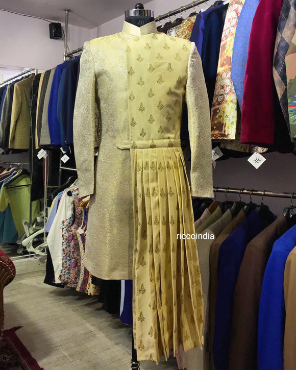 Ivory embroidered draped sherwani