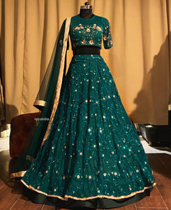 Green Resham and sequins work lehenga